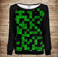Жіночий світшот - реглан з відкритими плечима з 3D принтом-Зелений Лабіринт