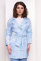Жіночий плащ блакитного кольору, з відкладним коміром. Модель 34109., фото 1