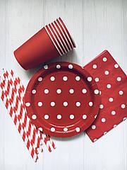 """Набор бумажной посуды - тарелочки, стаканчики и трубочки """"Red dots"""" (40 шт.)"""