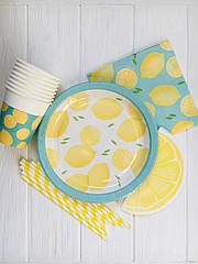 """Набор бумажной посуды - тарелочки, стаканчики,салфетки и трубочки """"Lemon"""" лимон  (50 шт.)"""