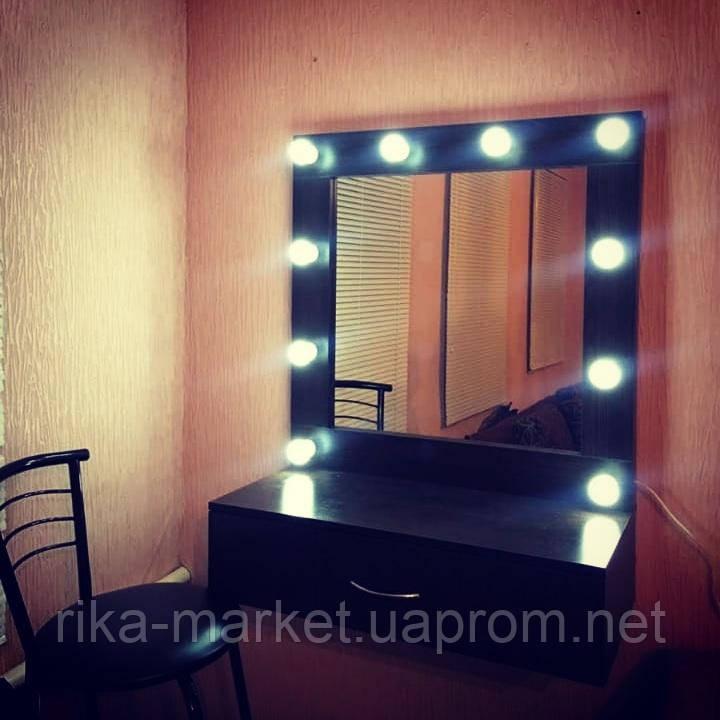 Навесное зеркало для салона красоты черном цвете