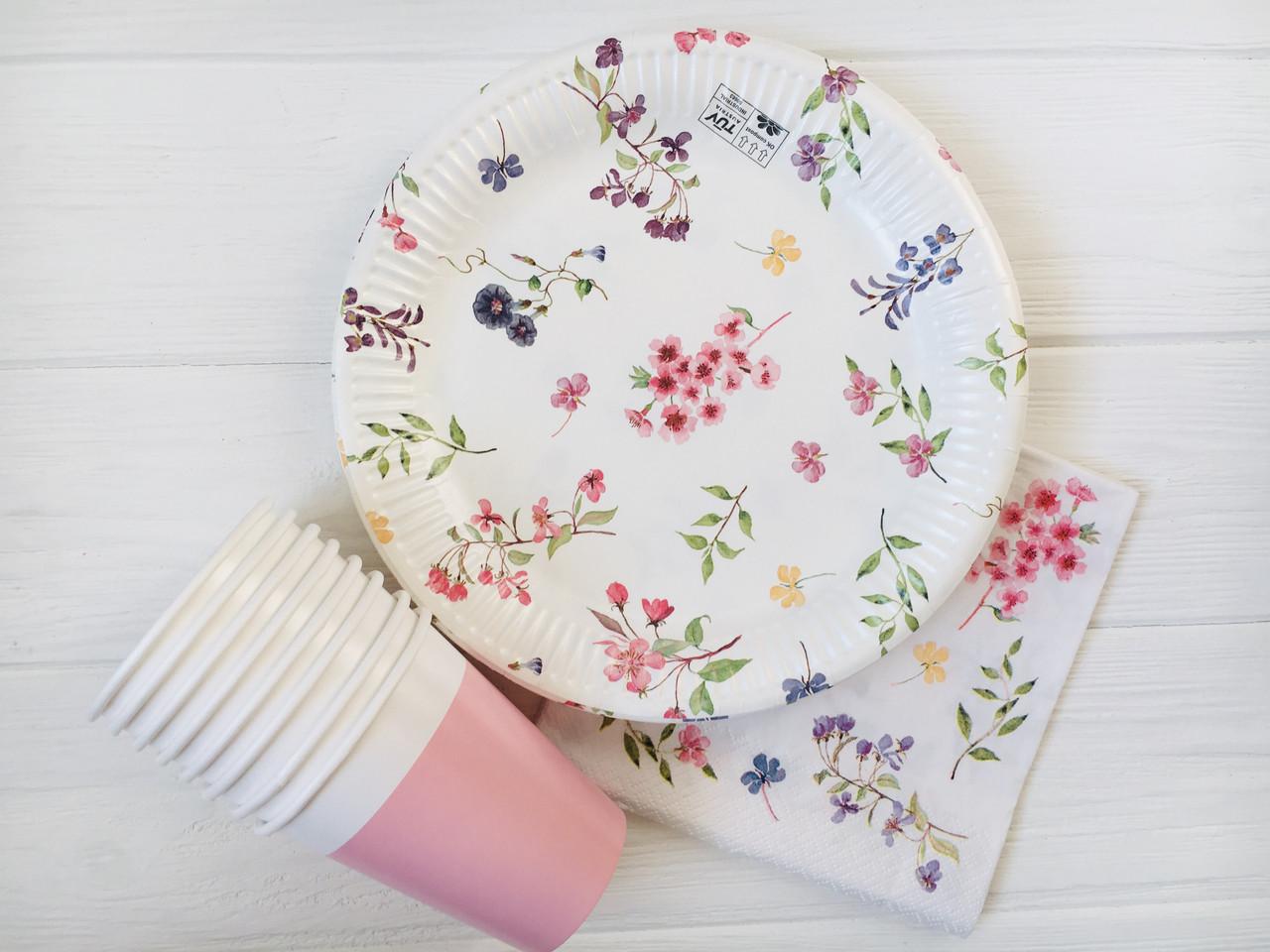 """Набор бумажной посуды - тарелочки, стаканчики,салфетки """"Flowers"""" (30 шт.)"""