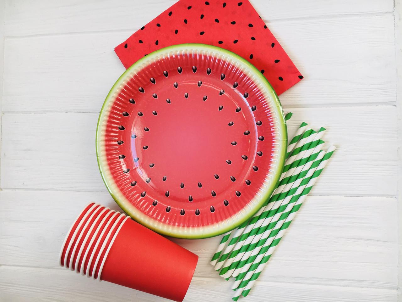"""Набір паперової посуду - тарілочки, стаканчики,серветки і трубочки """"Watermelon"""" (40 шт.)"""