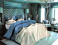 Комплект постельного белья Сатин  №с07 Полуторный размер 150х215 см., фото 1