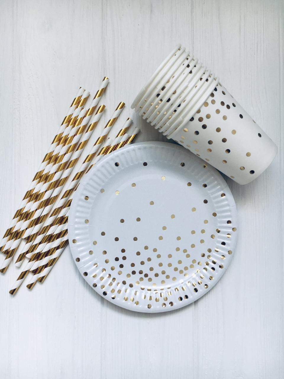 """Набір паперової посуду - тарілочки, стаканчики і трубочки """"White confett 2i"""""""
