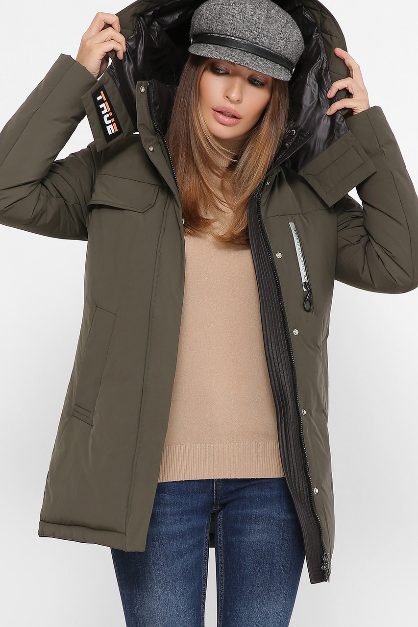 Модная женская куртка, теплая с капюшоном,хаки S M L XL 2XL
