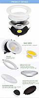 Светодиодный светильник Downlight LED COB DLQ2010R 10W 4200K 220V, фото 5