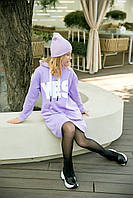 Платье-худи сиреневое повседневное с текстовым принтом на девочку-подростка рост 140-176