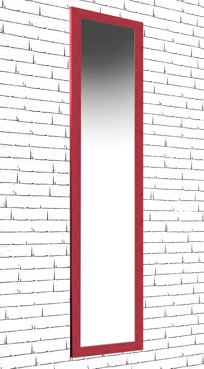 Зеркало настенное в раме Factura Small square Red 45х167 см красное