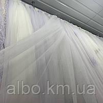 Элегантный белый тюль из фатина с декоративной вышивкой внизу на метраж, высота 3 м, фото 2
