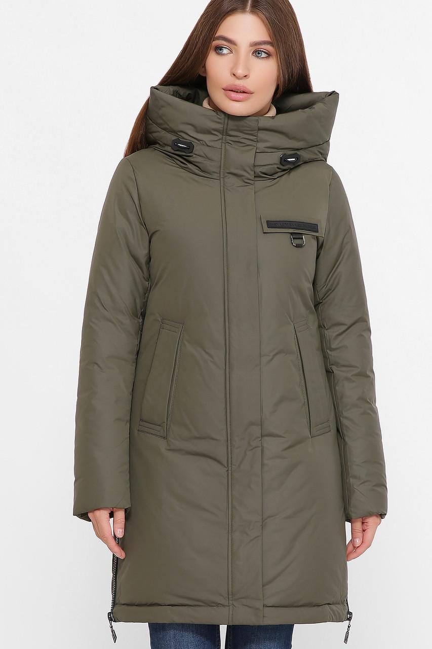 Модная женская куртка,удлиненная с капюшоном,хаки S M L XL 2XL