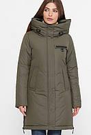 Модная женская куртка,удлиненная с капюшоном,хаки S M L XL 2XL, фото 1