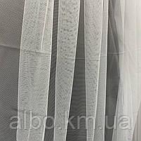 Элегантный белый тюль из фатина с декоративной вышивкой внизу на метраж, высота 3 м, фото 3