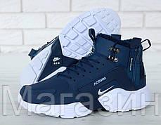 Мужские зимние кроссовки Nike Huarache ACRONYM City Winter Navy Найк Аир Хуарачи Акроним С МЕХОМ синие, фото 3