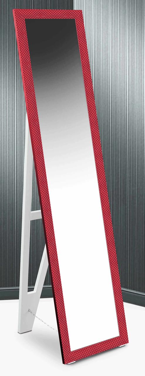 Зеркало напольное в раме Factura с деревянной подставкой Small square Red 45х167 см красное