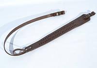 Ремень для ружья трапеция кожаный плетеный коричневый
