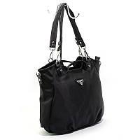 Сумка-мешок женская 807 черная шоппер на плечо текстильная, фото 1