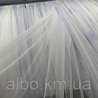 Элегантный кремовый тюль из фатина с декоративной вышивкой внизу на метраж, высота 3 м, фото 2