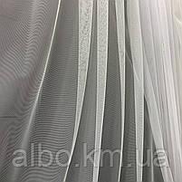 Элегантный кремовый тюль из фатина с декоративной вышивкой внизу на метраж, высота 3 м, фото 3