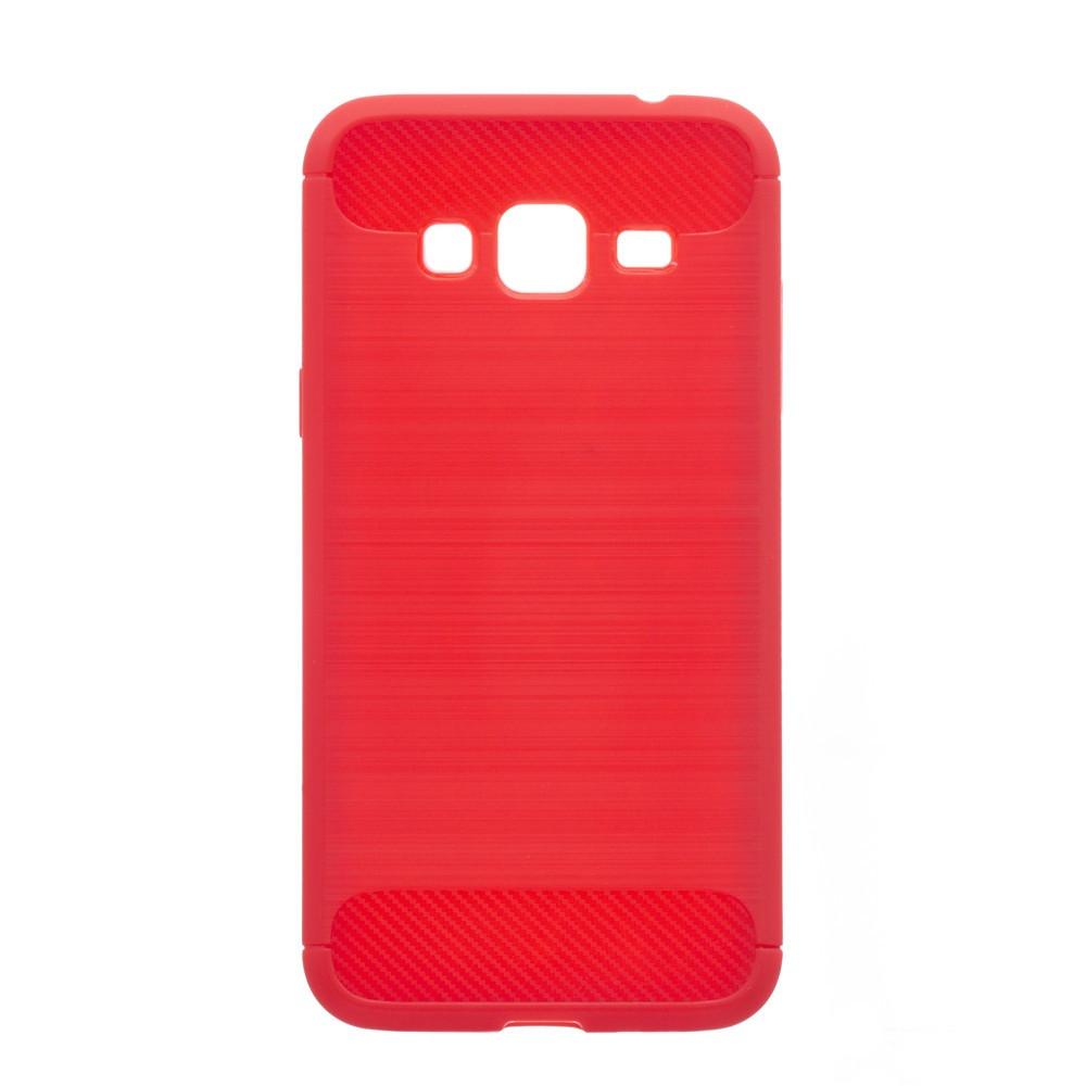 Чехол силиконовый для SAMSUNG J3/J310 Polished Carbon красный