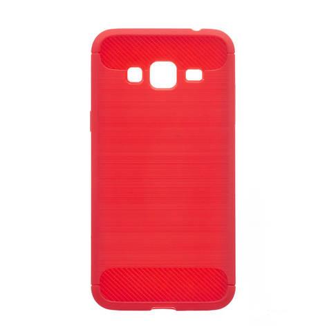 Чехол силиконовый для SAMSUNG J3/J310 Polished Carbon красный, фото 2