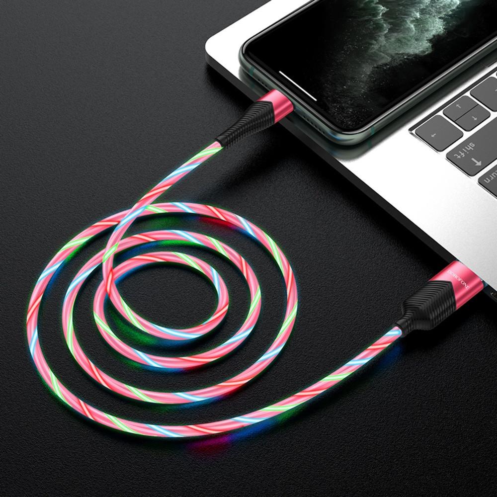 USB кабель Borofone BU19 Lightning 1m красный