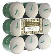 Свечи чайные декоративные зеленые 18 шт