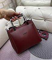 Женская сумка модная с квадратными ручками небольшая на плечо бордовая кожзам, фото 1