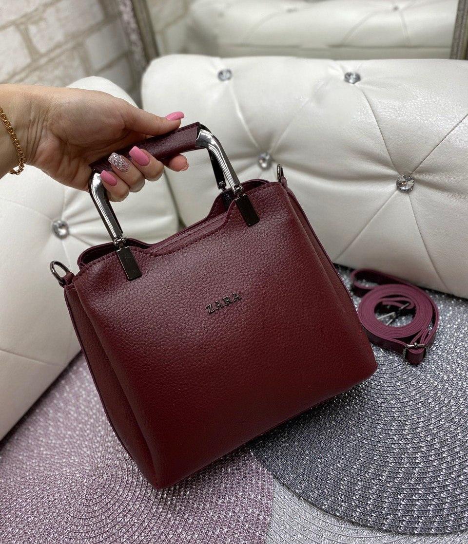 Женская сумка модная с квадратными ручками небольшая на плечо бордовая кожзам