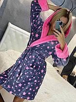 Красивый женский длинный махровый халат в звездочку, фото 2