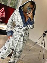 Красивий жіночий короткий махровий халат з капюшоном, фото 3