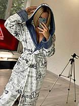 Красивый женский короткий махровый халат с капюшоном, фото 3