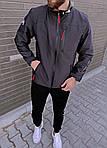 Мужская ветровка, 90% коттон + 10% ликра, р-р С; М; Л; ХЛ; ХХЛ (графит), фото 2