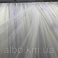 Елегантний білий тюль з фатину з декоративною вишивкою внизу на метраж, висота 3 м(121399), фото 5