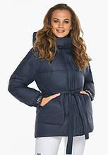 Пуховик женский Youth 21045   Темно-синяя курточка женская зимняя с капюшоном
