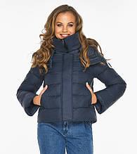 Пуховик женский Youth 21470     Курточка темно-синяя зимняя женская с манжетами