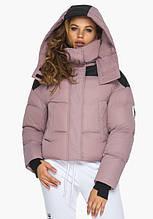 Пуховик женский Youth 24180   Курточка женская пудровая зимняя со съемным капюшоном