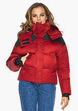 Пуховик женский Youth 24180   Женская рубиновая курточка зимняя удобного фасона