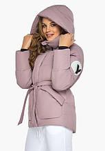 Пуховик женский Youth 24350   Зимняя курточка с манжетами женская цвет пудра