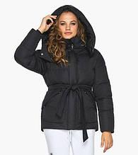 Пуховик женский Youth 24350   Черная курточка зимняя женская с внешними карманами