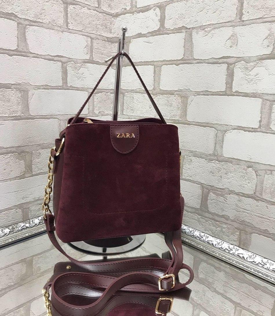 Невелика замшева бордова жіноча сумочка через плече сумка крос-боді натуральна замша+екошкіра
