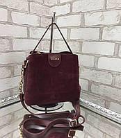 Невелика замшева бордова жіноча сумочка через плече сумка крос-боді натуральна замша+екошкіра, фото 1