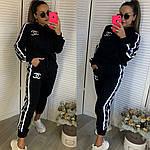 Женский спортивный костюм, турецкая двунить, р-р С; М; Л; ХЛ; ХХЛ (чёрный), фото 3