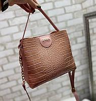 Пудровая женская сумка через плечо маленькая сумочка кроссбоди под рептилию экокожа