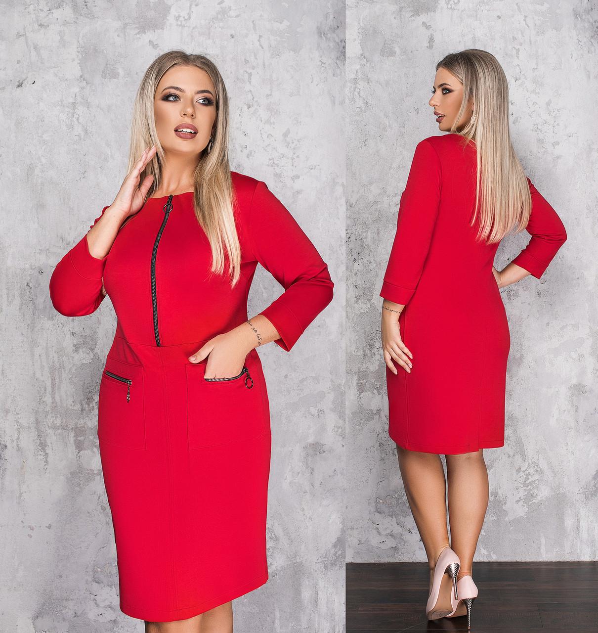Женское трикотажное приталенное платье большого размера.Размеры:50/52,62/64.+Цвета