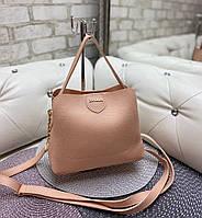 Маленькая женская сумка пудровая небольшая женская классическая сумочка через плечо кожзам