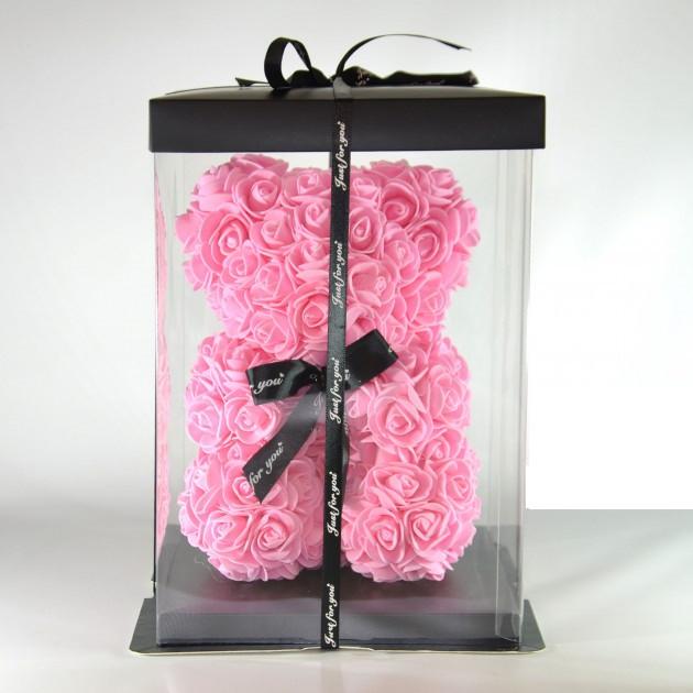 3D мишка из роз (40см) розовый TOP