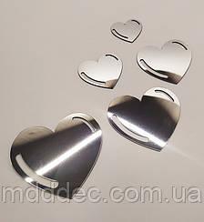 Набор акриловых сердечек серебро в наборе 5 шт