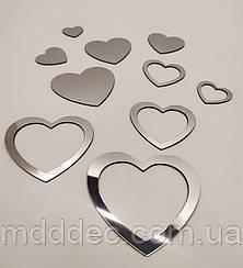 Набор акриловых сердечек серебро в наборе 10 шт