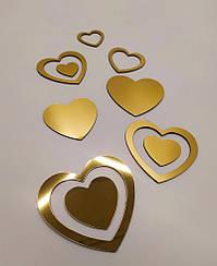 Набор акриловых сердечек золото в наборе 10 шт